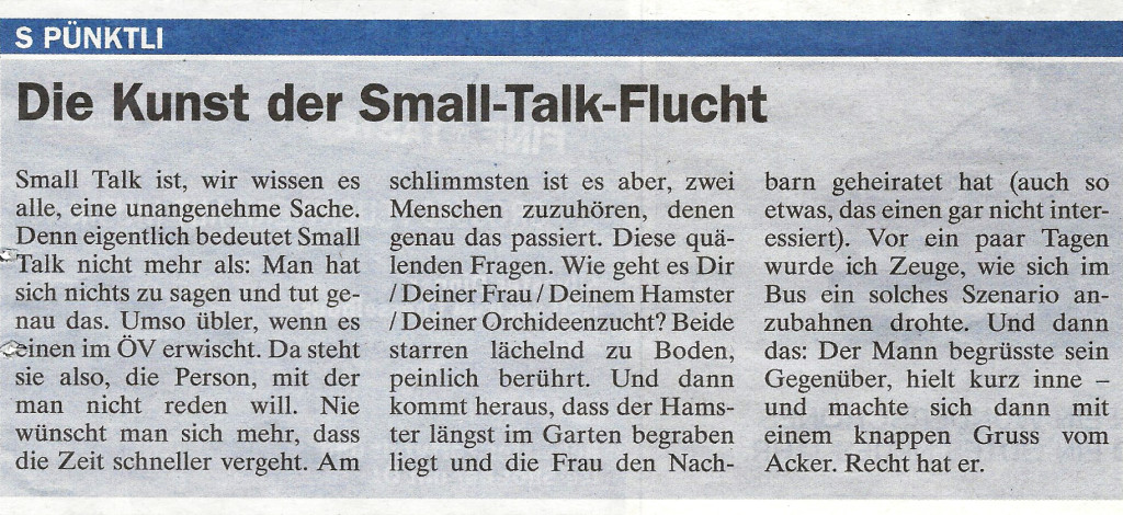 Small-Talk-Flucht